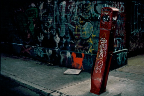 Photograph: Graffiti and Fire Call Box on Crosby Street