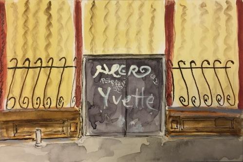 Watercolor: Graffiti on Door of Elegant Storefront