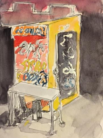 Watercolor: Graffiti Newsstand Box