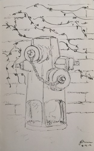 Sketch: Natural Graffiti and Fire Hydrant
