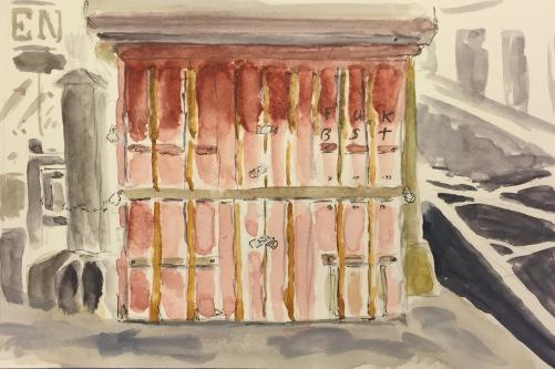 Watercolor: Newsstand with Minimalist Graffiti