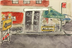 Watercolor: Newsstand on the Way Back from Indian Independence Day Parade