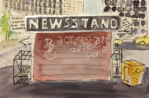 Watercolor: Newsstand, Lower Manhattan