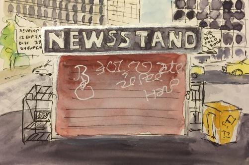 Watercolor: Newsstand, Lower Manhattan