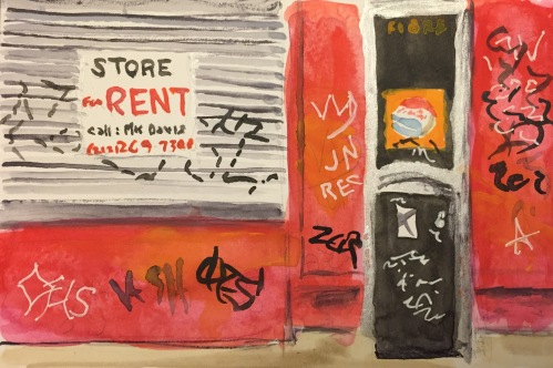 Watercolor: Storefront for Rent with Graffiti