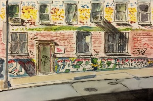 Watercolor : Street Scene - Building with Graffiti in the Morning
