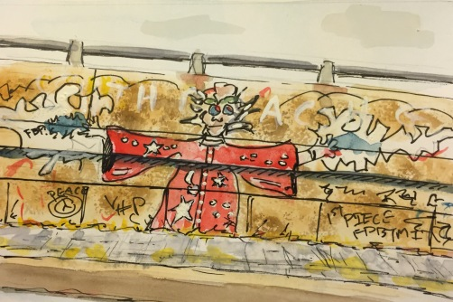 Watercolor: Graffiti on the Side of an On Ramp