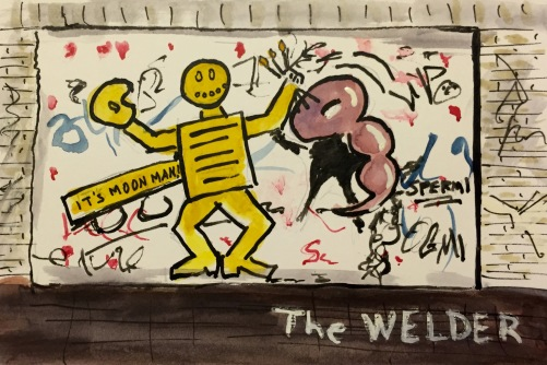 "Watercolor: Graffiti Entitled, ""The Welder"""
