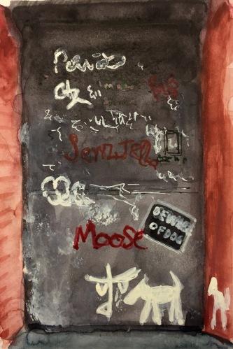 Watercolor: Door with Dog Graffiti