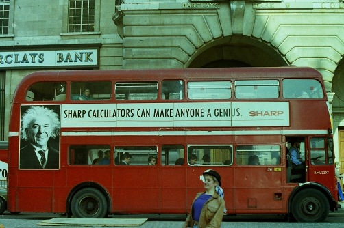 Photograph: Advertisement for Sharp Calculators on Double Decker Bus