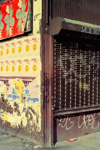 Photograph: Posters and Graffiti on Corner