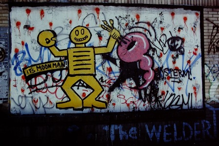 "Photograph: Graffiti Entitled, ""The Welder"""