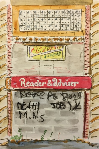 Watercolor: Graffiti on Abandoned Coney Island Tarot Kiosk