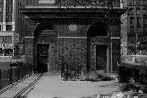 Photograph: Building at Allen Street and Houston with Graffiti