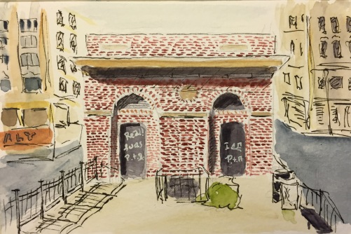 Watercolor: Building at Allen Street and Houston with Graffiti