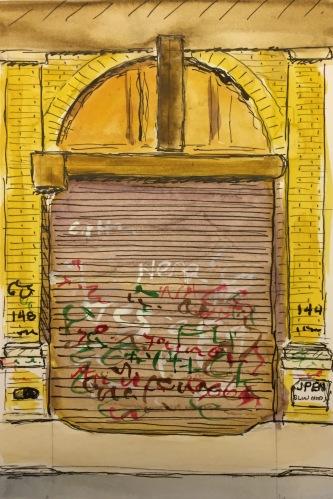 Watercolor: Auto Repair Shop (Detail) Graffiti