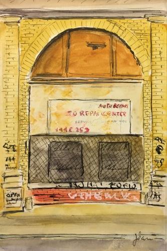 Watercolor: Auto Repair Shop Graffiti - Detail