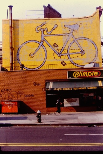 Photograph: Bicycle Graffiti Atop Blimpie's