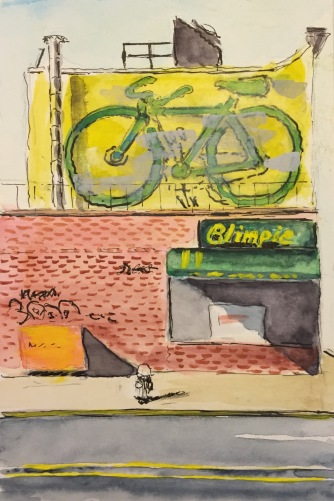 Watercolor: Bicycle Graffiti Atop Blimpie's