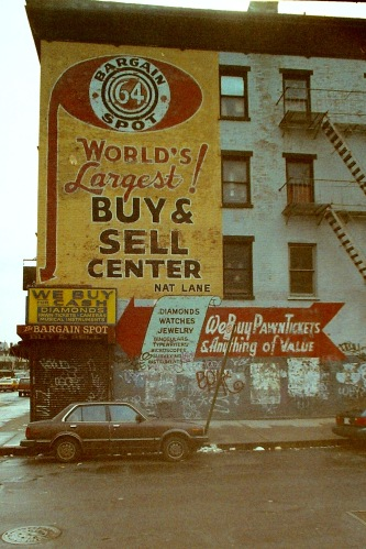 Photograph: Entire Bargain Spot Building with Graffiti