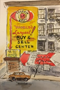 Watercolor: Entire Bargain Spot Building with Graffiti