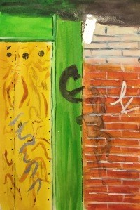 Watercolor: Section of Boarded Up Window and Brick Wall