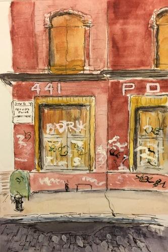 Watercolor: Graffiti on Warehouse Lower Manhattan, West Side