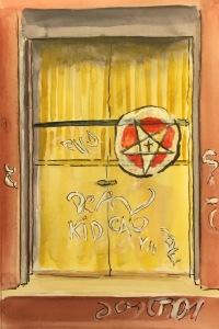 Watercolor: Star Graffiti on Warehouse Door