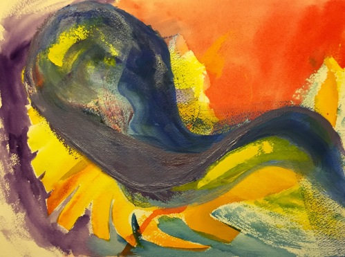 Watercolor and Oil: Abstract - Experiment with Yellows, Overwritten with Blues and Purples