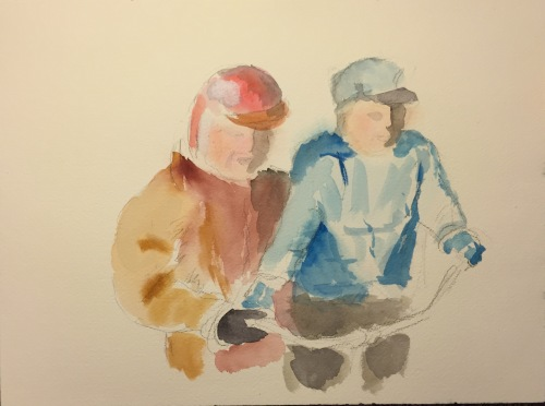 Watercolor: Scene from 8mm Film - Jack with Dave on a Bike