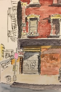 Watercolor: Graffiti on Madison Street by Manhattan Bridge