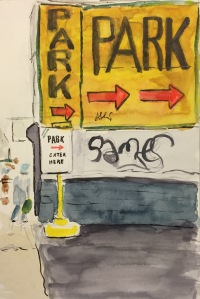 Watercolor: Parking Lot Signs with Graffiti
