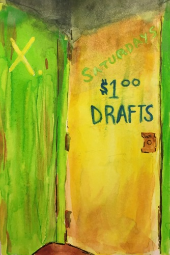 Watercolor: Block Letter Graffiti on Side Door of X. Bar