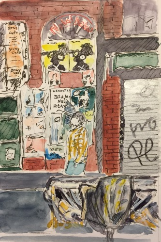 Watercolor: Graffiti and Posters on St. Mark's Place NYC
