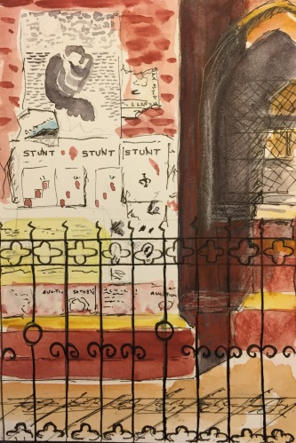 Watercolor: Building Facade with Posters and Woodcut-Like Image