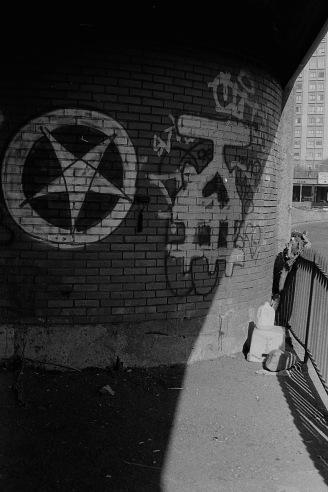 Photograph: 5-pointed Star Graffiti Under Highway Bridge