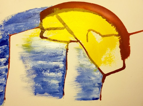 Watercolor and Oil Paint: Abstract Piece with Yellow, Sepia and Blue