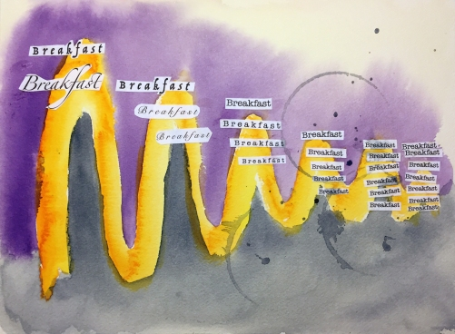 Watercolor Collage: Abstract Timeline and Cutout Words