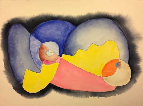 Watercolor with Pen and Ink: Abstract, Closed Form