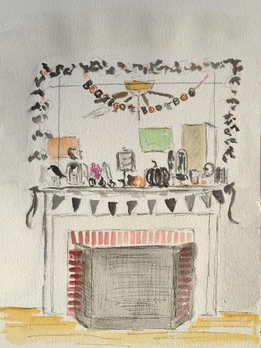 Watercolor: Halloween Mantle