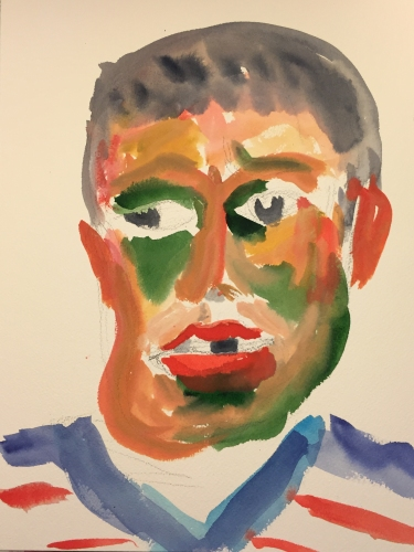 Watercolor: Portrait of Older Mike, from Imagination