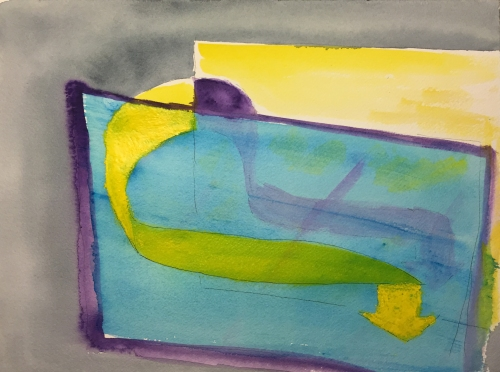Watercolor: Abstract - Two Planes with Arrows
