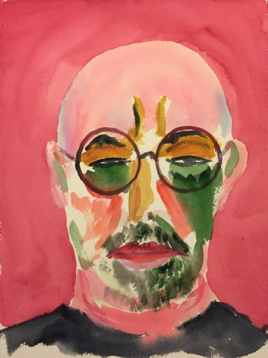 Watercolor: Abstract Self Portrait in the Style of Jawlensky