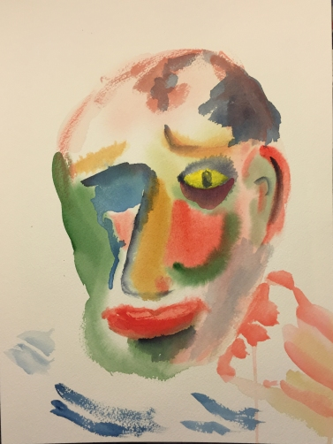 Watercolor: Abstract Portrait of Old Mike
