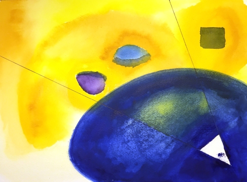 Watercolor, Oil and Ink: Abstract Yellows and Blues