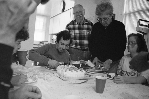 Photograph: Mike Eating Birthday Cake, 1992
