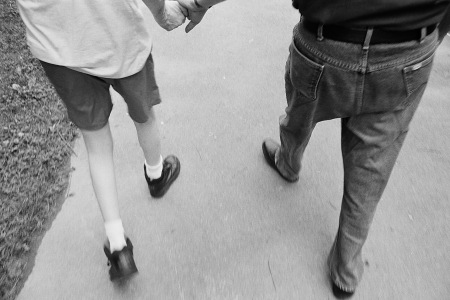 Photograph: Dad and Mike Holding Hands While Walking