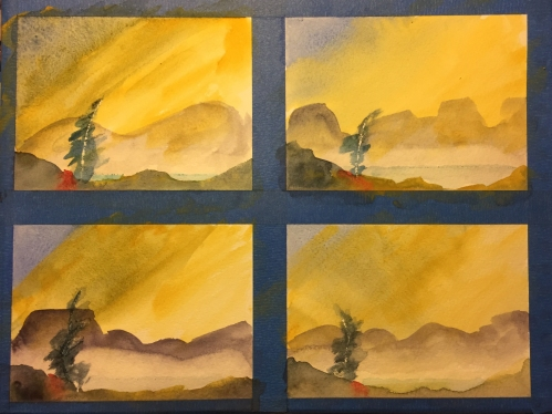 Watercolor: Practice Sketches of Enhanced Landscapes