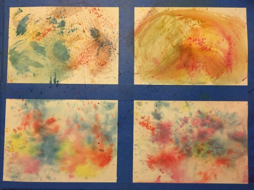 Watercolor Lesson Chart - 4 Panels; paint applied without brushes