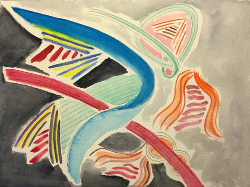 Watercolor: Abstract Beginning with Lines, Inspired by Paul Klee